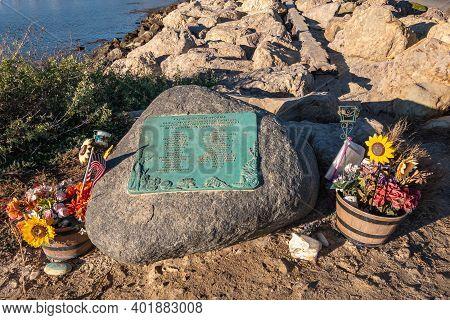 Usa, California, Santa Barbara - December 18, 2020: Green Metal Mv Conception Fire And Sinking Disas