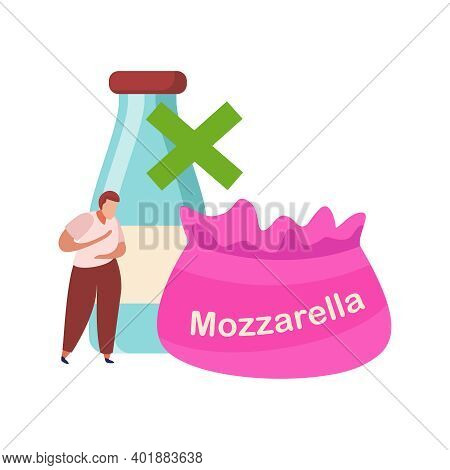 Lactose Gluten Intolerance Diet Composition With Pack Of Mozzarella And Human Character Vector Illus