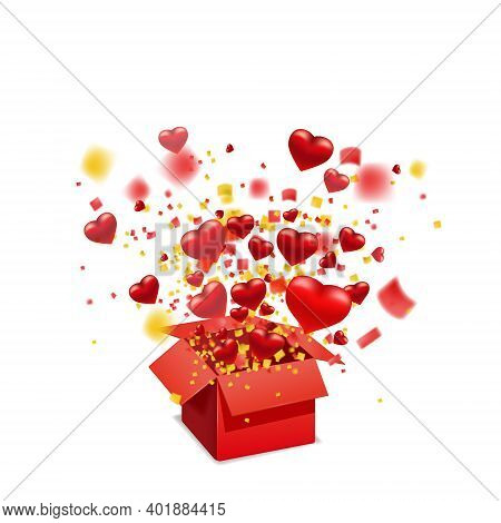 Open Red Gift Box Present With Flying Hearts And Bright Rays Of Light, Burst Explosion. Happy Valent