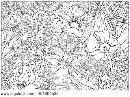Floral Seamless Pattern, Background With In Art Nouveau Style, Vintage, Old, Retro Style. Outline Ve