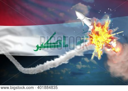 Strategic Rocket Destroyed In Air, Iraq Supersonic Missile Protection Concept - Missile Defense Mili