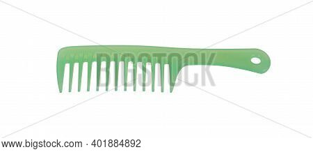 Green Plastic Hair Comb Isolated On White Background.
