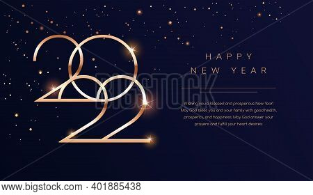 Luxury 2022 Happy New Year Background. Golden Design For Christmas And New Year 2022 Greeting Cards