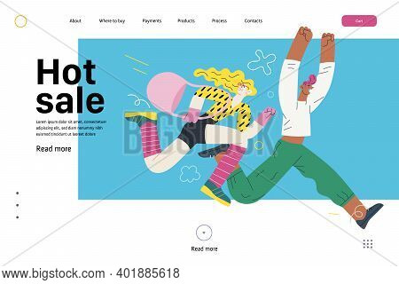 Discounts, Sale, Promotion, Web Template - Modern Flat Vector Concept Illustration Of A Man And A Wo