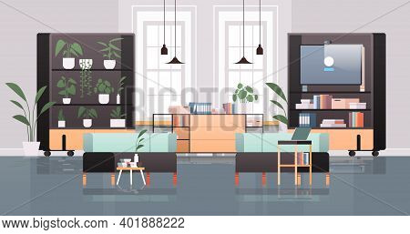 Empty Coworking Center With Tv Screen Modern Office Room Interior Open Space With Furniture Horizont