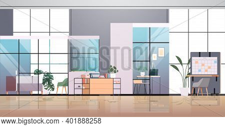Empty Coworking Center Modern Office Room Interior Creative Open Space With Furniture Horizontal Vec