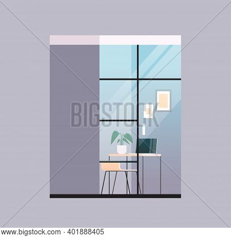 Empty Coworking Center Modern Office Room Interior Open Space With Furniture Behind Glass Window Vec