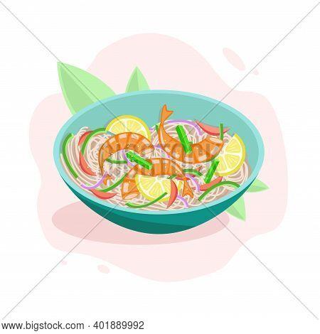 Udon With Shrimp, Noodles And Vegetables. Asian Cuisine.