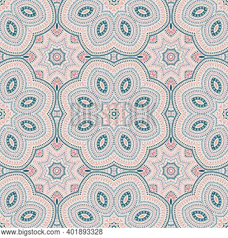 Persian Authentic Geometric Vector Seamless Pattern. Tile Patchwork Design. Delicate Spanish Motif.