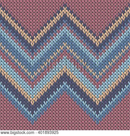 Handmade Zig Zal Lines Knitting Texture Geometric Vector Seamless. Jumper Knitwear Structure Imitati