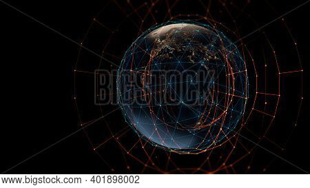 3d Rendering Of  Earth On Hi-tech Futuristic Technology Abstract Background ,concept Of Modern Data