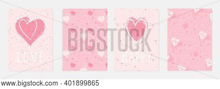 Valentine Day Cards With Watercolor Hearts,  Grunge Elements And Hand Drawn Lettering. Vector Backgr