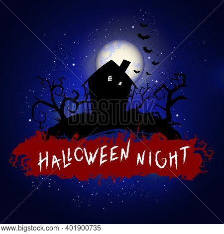 Vector Halloween Illustration With Abandoned House And Inscription On Starry Sky Nightly Background