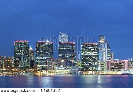 Skyline Of Downtown District Of Hong Kong City At Night