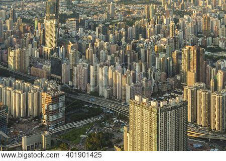 Aerial View Of Hong Kong City Under Sunset