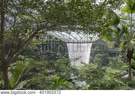 Singapore - Dec 31, 20120: General View Of The Tallest Indoor Waterfall In The World At Jewel Changi