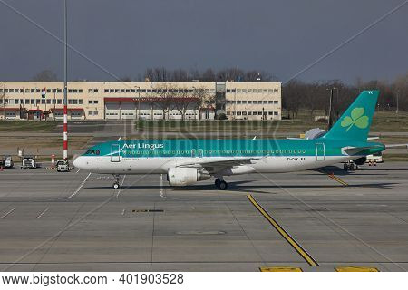 BUDAPEST, HUNGARY - CIRCA 2017: Airliner of AerLingus arriving at Budapest Liszt Ferenc Airport. AerLingus is Ireland's largest airline.