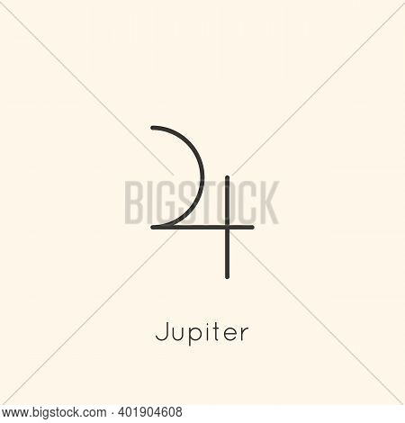 Jupiter Planet Icon In Minimal Liner Trendy Style. Vector Astrological Sign For Logo, Tattoo, Calend