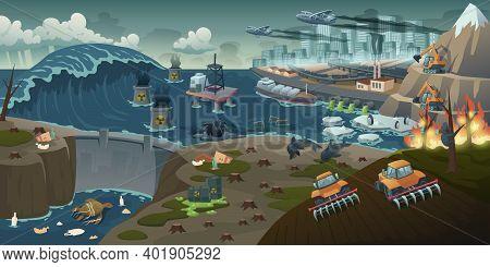 Ecology Pollution, Deforestation, Forest Fire, Nature Deforestation Global Problem. Oil Derrick In D