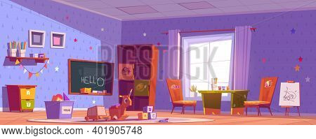 Kindergarten Room, Daycare Center With Toys, Chalkboard, Table And Chairs For Kids. Vector Cartoon I