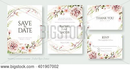 Wedding Invitation, Save The Date, Thank You, Rsvp Card Design Template. Vector. Juliet Rose And Che