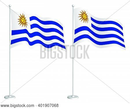 Flag Of Uruguay On Flagpole Waving In Wind. Holiday Design Element. Checkpoint For Map Symbols. Isol