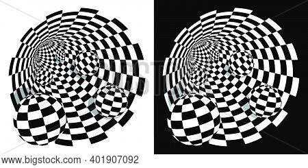 Abstract Black White Checkerboard Tunnel With Balls Inside. Round Wormhole, Path Into Unknown. Scien