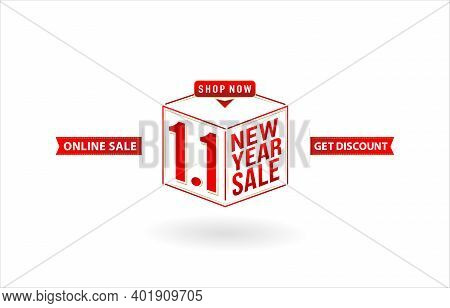 1.1 Sale, 1.1 Online Sale, New Year Sale, Gift Box With Sale Cube Model Number Sign Red Ribbon With