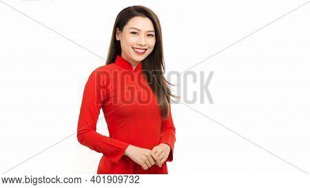 Lunar New Year Celebrations, Portrait Of Vietnamese Woman Dress In Ao Dai (vietnam Traditional Dress