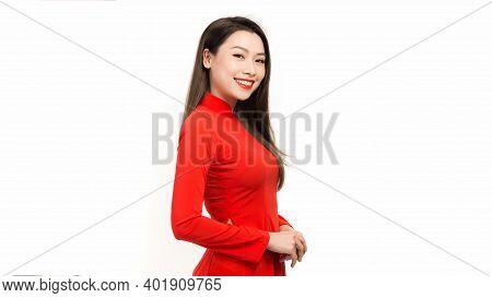 Portrait Beautiful Asian Girl With Vietnamese Dress (ao Dai)