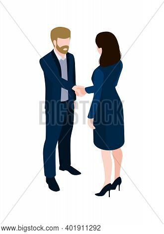 Two People In Office Wear Shaking Hands 3d Isometric Vector Illustration