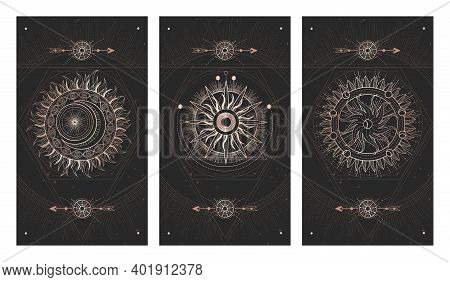 Vector Set Of Three Dark Illustrations With Sacred Geometry Symbols And Grunge Textures. Images In B
