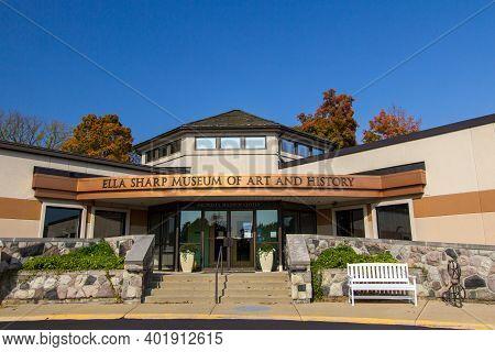 Jackson, Michigan, Usa -october 9, 2020: Exterior Of The Ella Sharp Museum Of Art And History Locate