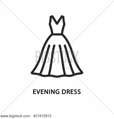 Evening Dress Flat Line Icon. Vector Illustration Wedding Dress.