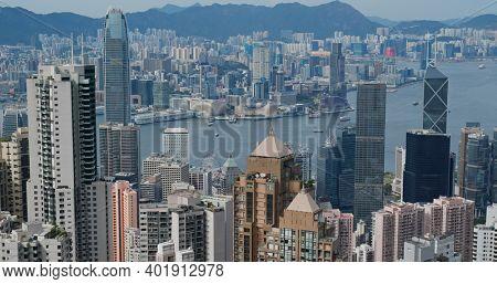 Victoria Peak, Hong Kong 15 July 2020: Hong Kong skyline
