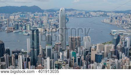 Victoria Peak, Hong Kong 16 July 2020: Hong Kong skyline