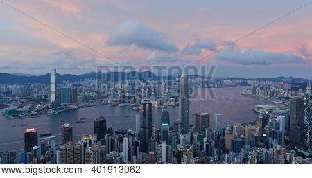 Victoria Peak, Hong Kong 19 July 2020: Top view of Hong Kong city