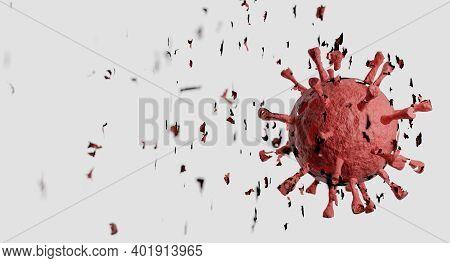 Eliminate Of Coronavirus. Corona Virus Breaking Up Into Pieces. Treatment, Vaccine Or Drug Concept.
