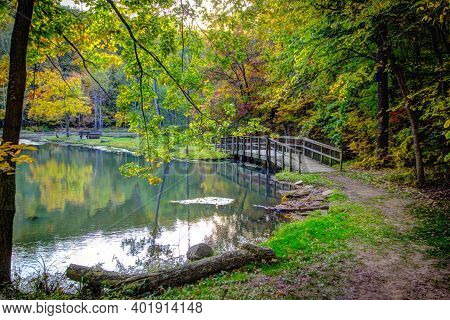 Beautiful Forest Scene. Small Wooden Footbridge Crosses A Small Lake Surrounded By A Beautiful Lush