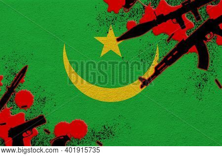 Mauritania Flag And Various Weapons In Red Blood. Concept For Terror Attack And Military Operations