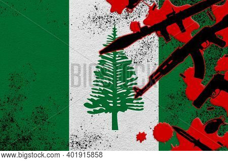 Norfolk Island Flag And Various Weapons In Red Blood. Concept For Terror Attack Or Military Operatio
