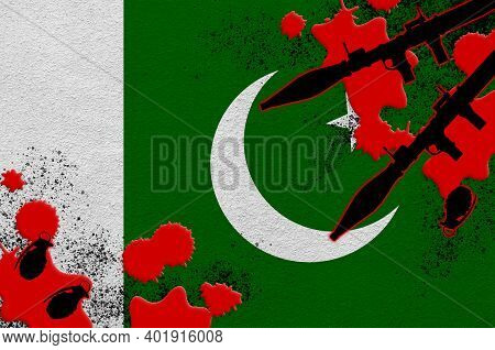 Pakistan Flag And Rocket Launchers With Grenades In Blood. Concept For Terror Attack And Military Op