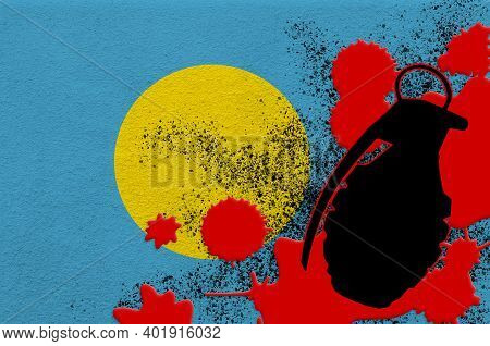 Palau Flag And Mk2 Frag Grenade In Red Blood. Concept For Terror Attack Or Military Operations With