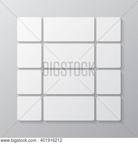 Vector Template Collage Board Twelve Images, Photo