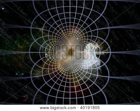 Space Topology series. Backdrop composed of grids nebulae and cosmology formulas and suitable for use in the projects on science of astronomy physics cosmology and related technologies poster