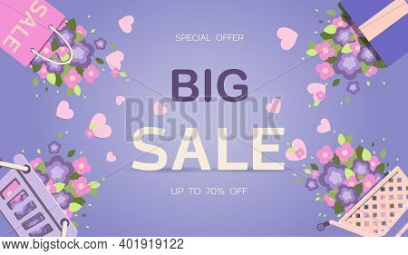 Big Spring Sale. Banner For Discounts For Easter, March 8 Or Mother S Day. Cute Vector Illustration