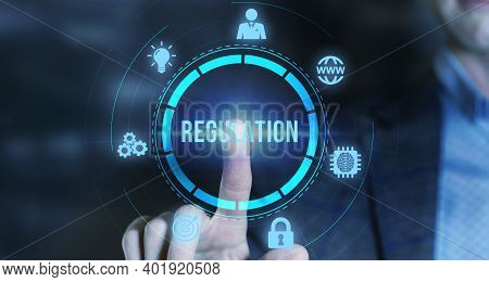 Internet, Business, Technology And Network Concept. Regulation Compliance Rules Law Standard.