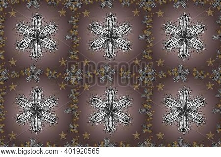 Seamless Vintage Pattern With Shadows And Golden Elements. Colorful Backgound. Pano Illustration. Ra