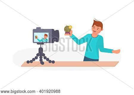 Young Man Taking A Broadcast For Social Media Network Vector Illustration. Male Vlogger Makes A Live