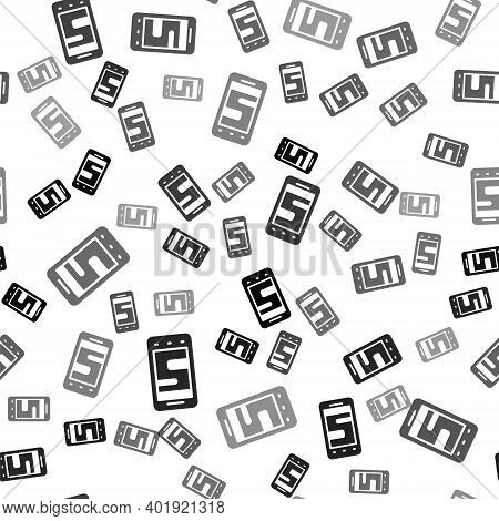 Black New Chat Messages Notification On Phone Icon Isolated Seamless Pattern On White Background. Sm